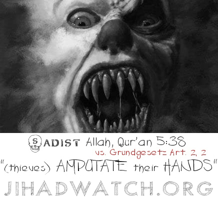 sadist allah Q5:38 Sadist Amputate hands